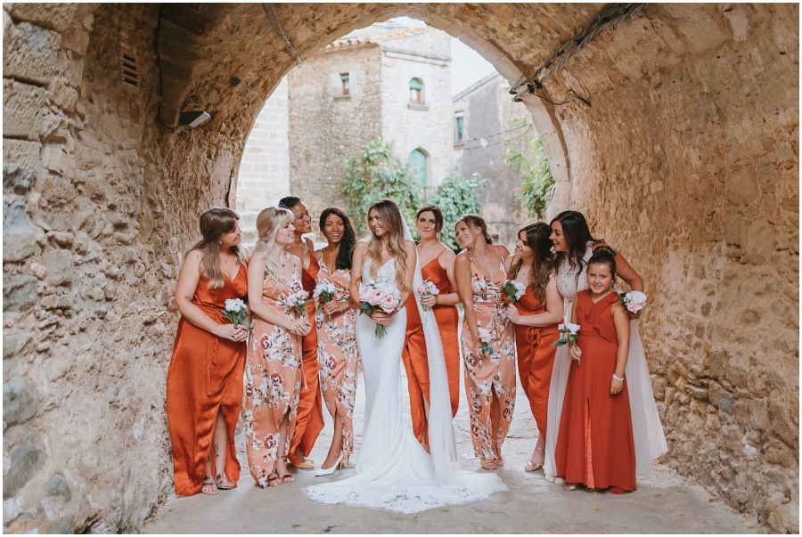 Peach and Orange Bridesmaids Destination wedding en la Costa Brava Spain